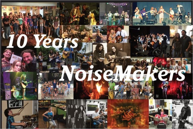 picture collage of students, teachers, events at NoiseMakers over the past 10 years